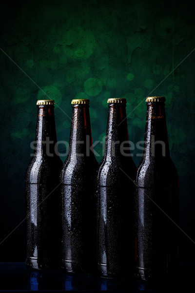 Stock photo: Cold beer bottle