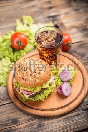 Hamburger top view alimentare sandwich pomodoro Foto d'archivio © grafvision