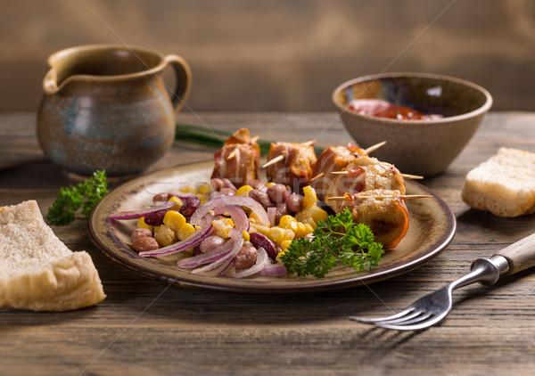 Pollo albóndigas frijol ensalada alimentos cena Foto stock © grafvision