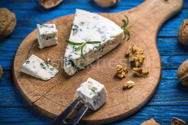 ブルーチーズ 木製 まな板 木材 背景 チーズ ストックフォト © grafvision