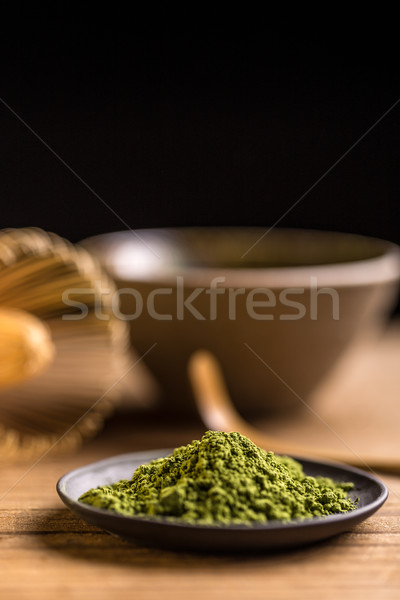 Japonais thé vert poudre noir plaque thé Photo stock © grafvision