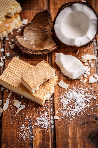 Hóstia barras branco chocolate coco doce Foto stock © grafvision