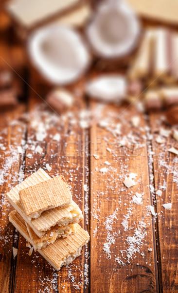 Ostya fehér csokoládé boglya rácsok kókusz Stock fotó © grafvision