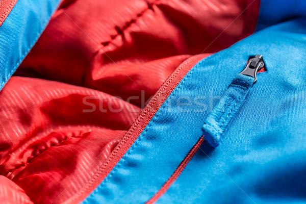 Zíper azul inverno casaco tiro Foto stock © grafvision