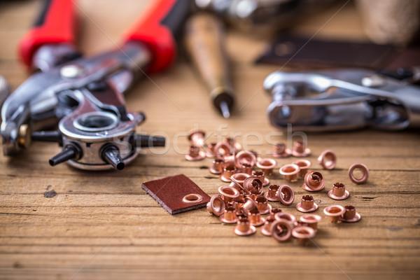 Tools leder knop object reparatie Stockfoto © grafvision