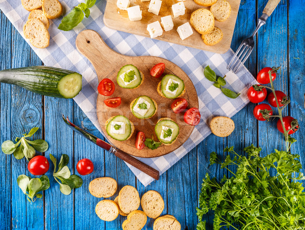 Party Mini Snacks top Ansicht Bruschetta Stock foto © grafvision