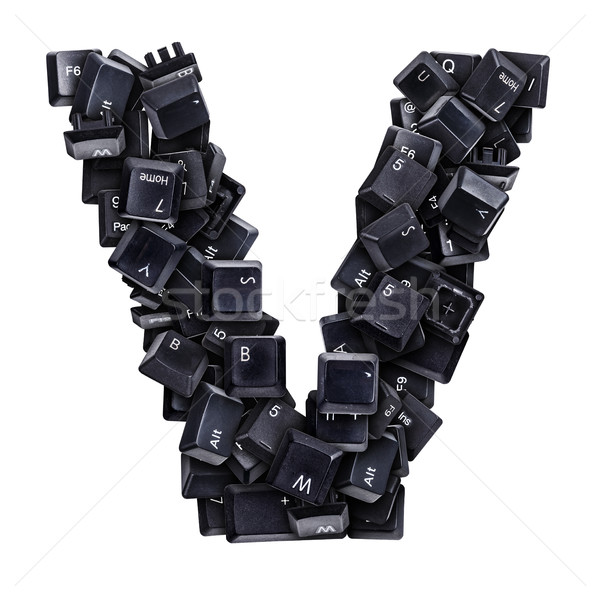 Stock photo: Letter V made of keyboard buttons