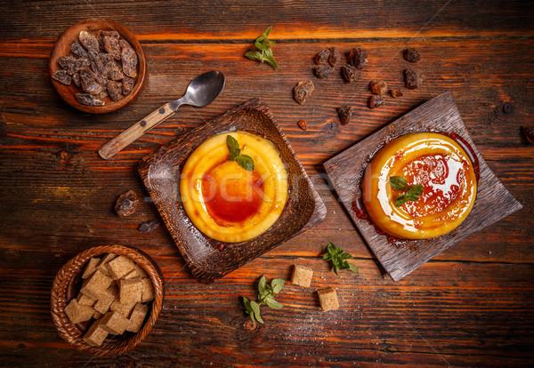 Typisch dessert bamboe plaat voedsel room Stockfoto © grafvision