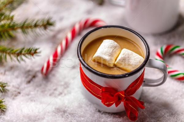 Stok fotoğraf: Sıcak · çikolata · beyaz · kupa · kahve · çikolata · tablo
