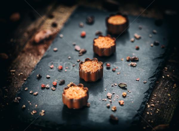 Chocolade marsepein ingericht roze peper achtergrond Stockfoto © grafvision