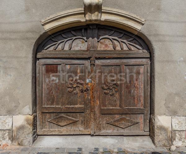 Worn closed wooden door  Stock photo © grafvision