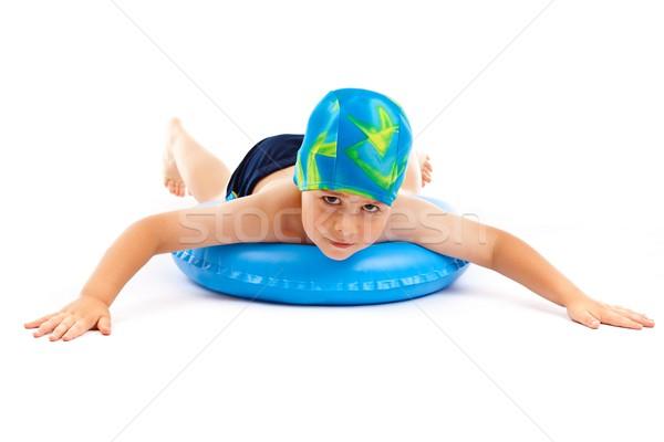 Garçon jouer bleu vie anneau drôle Photo stock © grafvision