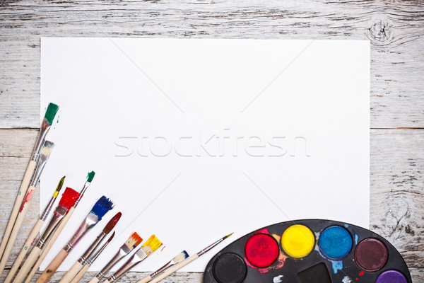 Used watercolor paints set  Stock photo © grafvision
