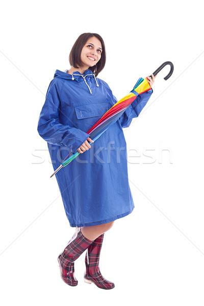 Vrouw regenboog paraplu jonge vrouw geïsoleerd witte Stockfoto © grafvision