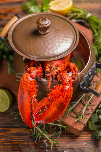Aragosta cucina pot pesce rosso Foto d'archivio © grafvision