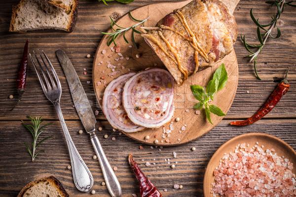 фаршированный свинина филе мяса яйца перец Сток-фото © grafvision