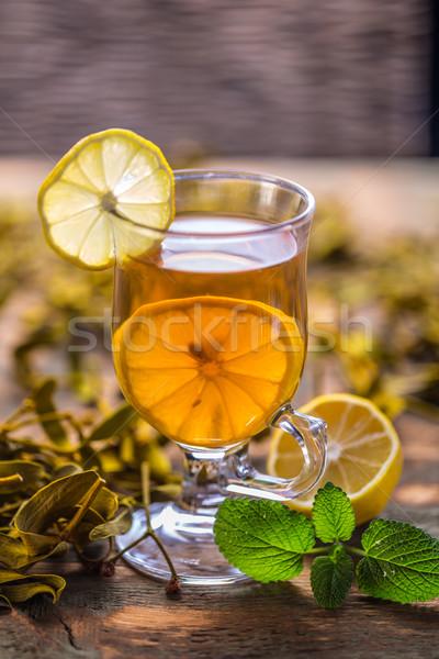 Csésze fagyöngy teáscsésze tea citrom zöld Stock fotó © grafvision