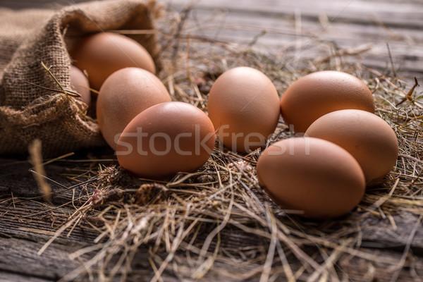 Marrom galinha ovos rústico comida ovo Foto stock © grafvision