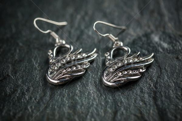 Swan metal orecchini buio moda Foto d'archivio © grafvision