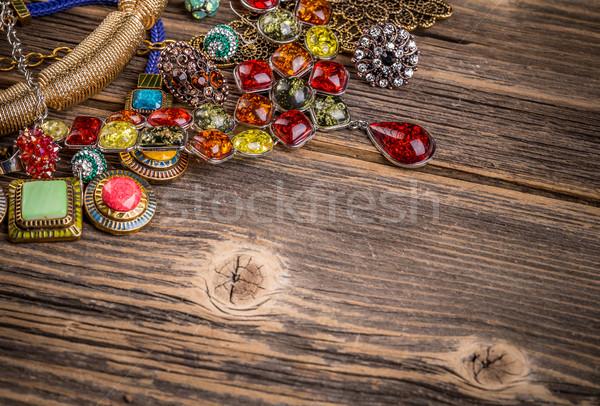 Színes kövek fából készült felület űr szöveg Stock fotó © grafvision