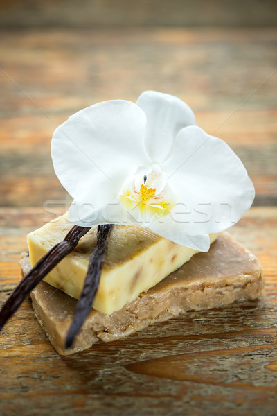Vanille duftenden Seife Holz Holz Stock foto © grafvision