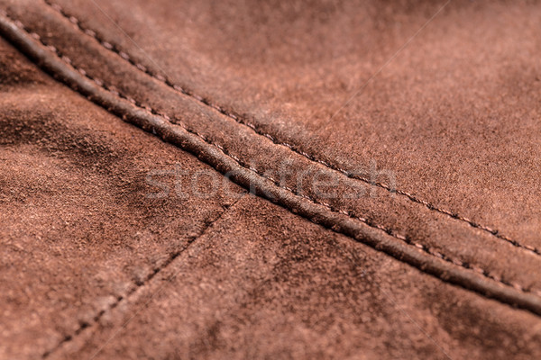 Brown leather, seam Stock photo © grafvision