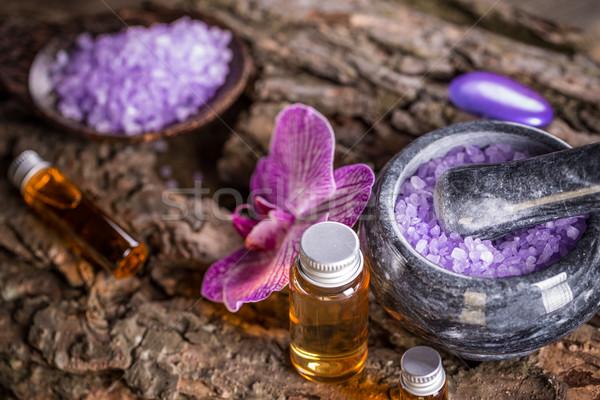 Szépségápolás aromaterápia olaj levendula fürdősó fürdő Stock fotó © grafvision