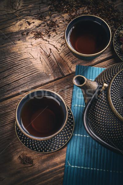 Asian Eisen Tee Set Jahrgang Stil Stock foto © grafvision