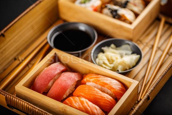 Fresco delicioso sashimi sushi servido molho de soja Foto stock © grafvision