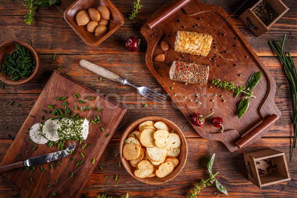 フェタチーズ 前菜 スパイス ハーブ 緑 プレート ストックフォト © grafvision