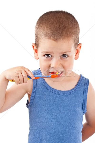 ストックフォト: 少年 · 歯ブラシ · 孤立した · 白