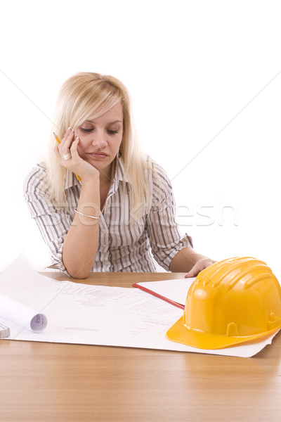 Tired engineer woman Stock photo © grafvision