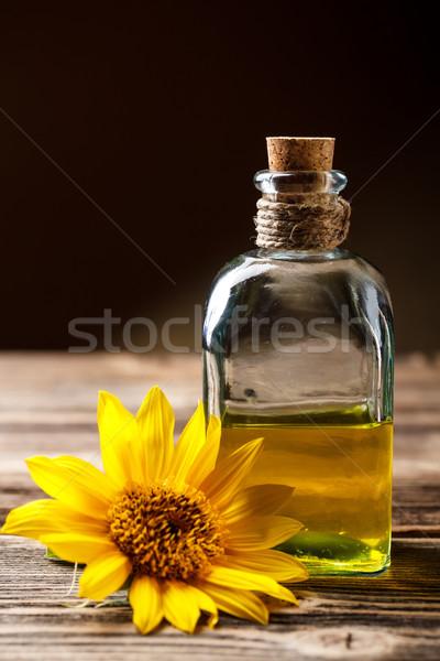 óleo de girassol garrafa rústico tabela vidro girassol Foto stock © grafvision