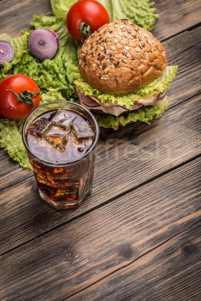 Hamburguesa alimentos cola beber fondo mesa Foto stock © grafvision