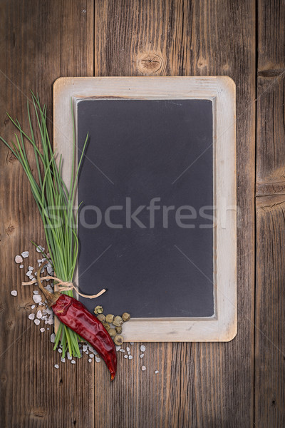 üres tábla szöveg klasszikus fából készült zöld főzés Stock fotó © grafvision