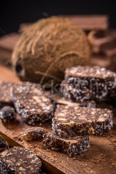 Kolbász keksz szeletek fából készült étel torta Stock fotó © grafvision