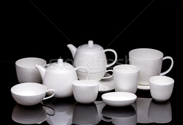 Demlik yansıma siyah çay fincan Stok fotoğraf © grafvision