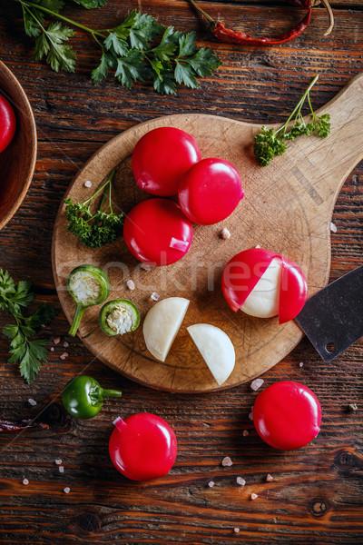 Queso rojo cera superior vista cheddar Foto stock © grafvision