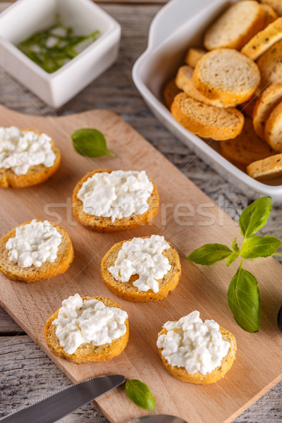 パン 焼いた 前菜 コテージチーズ 指 新鮮な ストックフォト © grafvision