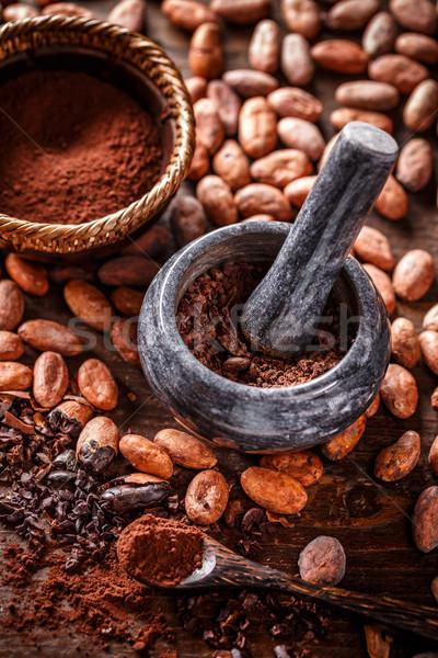Ganze Kakaobohnen Essen Stein Boden Konzept Stock foto © grafvision