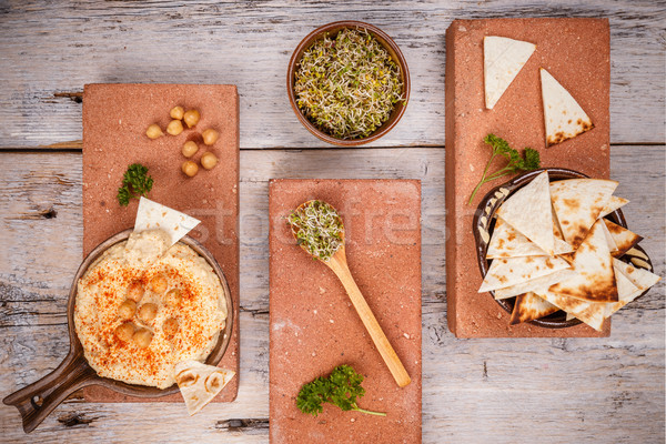Hummus served with pita and sprout Stock photo © grafvision