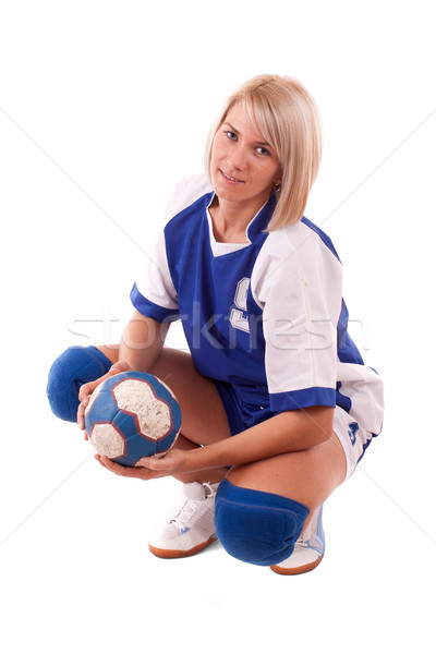 Balonmano jugador femenino posando aislado blanco Foto stock © grafvision