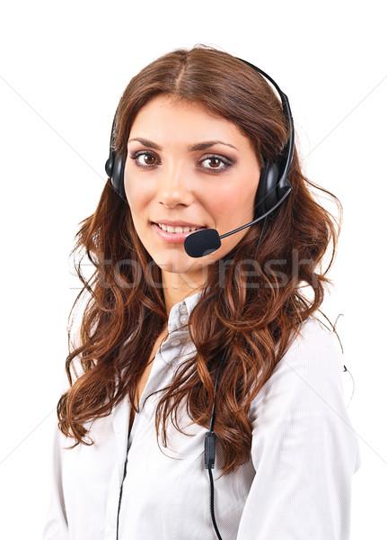 Сток-фото: оператор · женщину · гарнитура · службе · изолированный · белый
