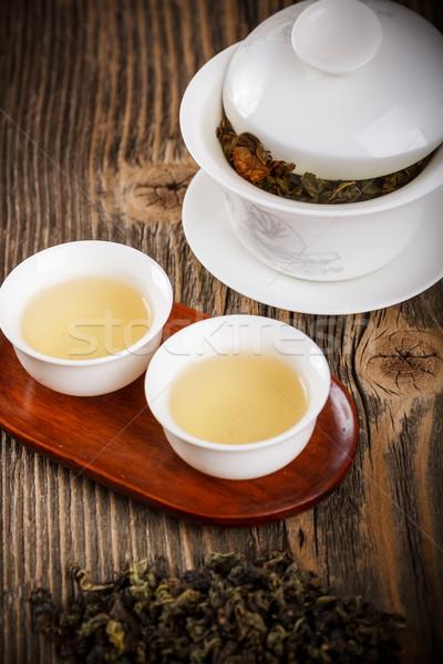 Biały starych drewniany stół drewna tabeli herbaty Zdjęcia stock © grafvision