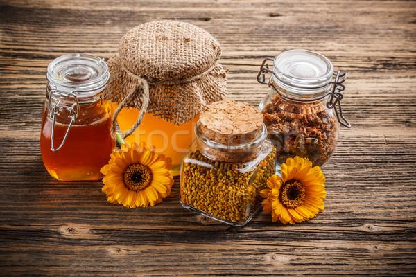 Honing stuifmeel propolis glas jar bloem Stockfoto © grafvision