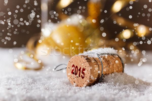 Champagner Kork Neujahr Party Licht Hintergrund Stock foto © grafvision