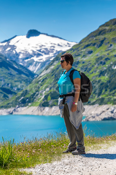Alpine manzara kadın güzel gökyüzü yeşil Stok fotoğraf © grafvision