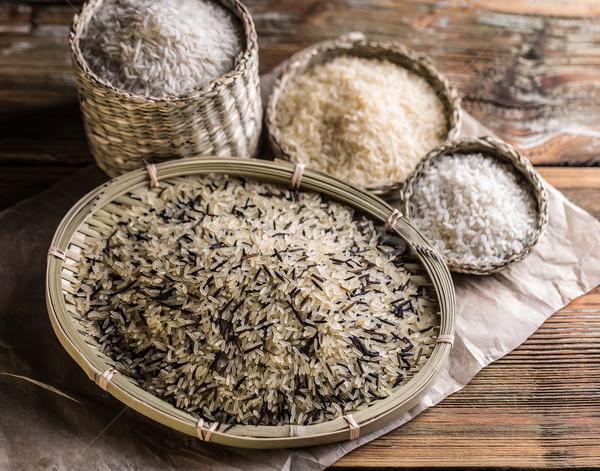 コメ 異なる プレート ボウル 木製 穀物 ストックフォト © grafvision