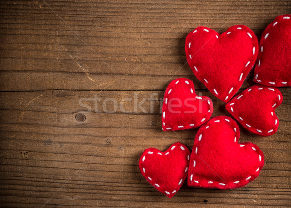 Red felt hearts Stock photo © grafvision