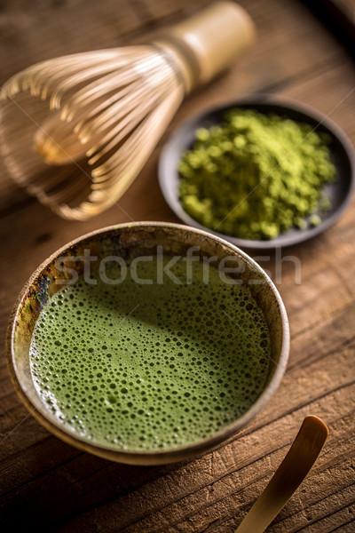 Thé bol bambou fouet boire japonais Photo stock © grafvision
